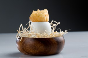 Crispy Egg Yolk with Mushroom Gelatin - Francesc Guillamet