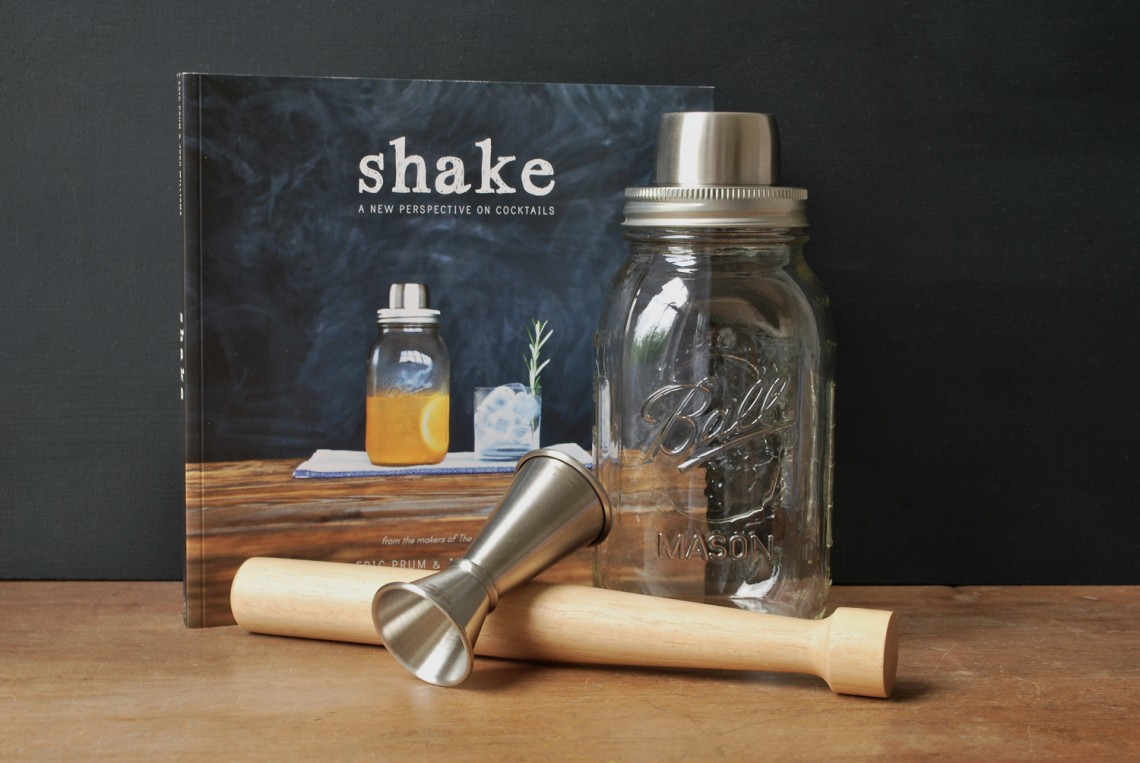 Mason Jar Cocktail Shaker Gift Set, Coral & Bone, £65