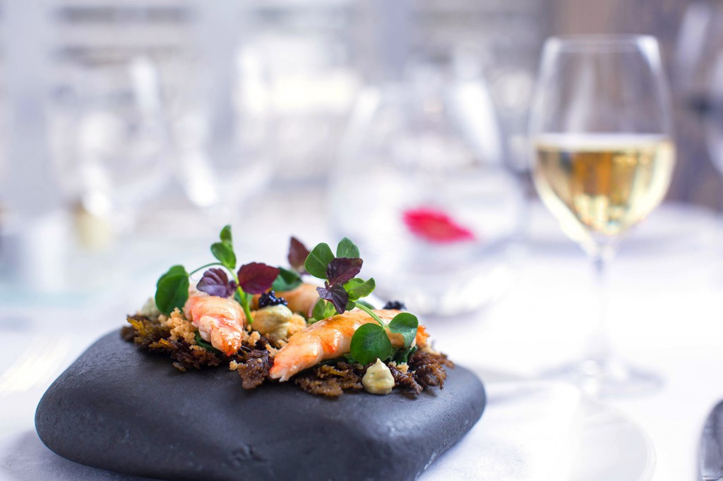 Jersey Michelin Experience - Langoustines with Oyster Mayonnaise wilted Spinach & Anchovy sand