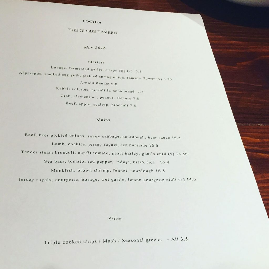 The Menu - The Globe Tavern