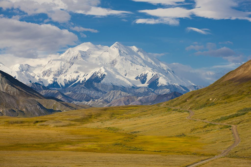 Mini USA Roadtrips For Two | 12 Night Fly Drive Around 'Alaska's Inns and Nature Lodges' |Denali National Park, Alaska, view of Park Road and Mt. McKinley looking west toward Fish Creek, Thorofare Pass and Eielson Visitor Center