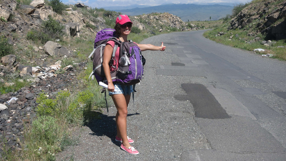 Alya hitchhiking, Armenia