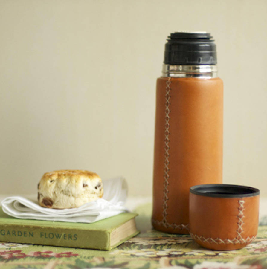 Unexpected Wedding Gift Ideas | Thermos | leather-wrapped flask