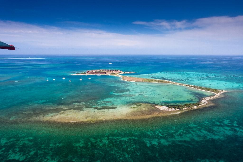 8 Instagramable Spots In Florida | Dry Tortugas National Park | An aerial photo of Fort Jefferson in Dry Tortugas National Park, situated 70 miles west of Key West. FOR EDITORIAL USE ONLY. Photo by Laurence Norah/Florida Keys News Bureau