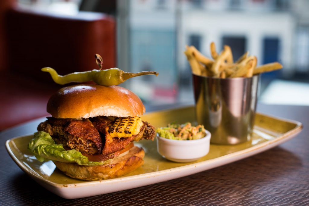 Eat At: Greenwood, London, Victoria | Crispy chicken burger, pickled chillies, Mexican cheddar, sweetcorn relish